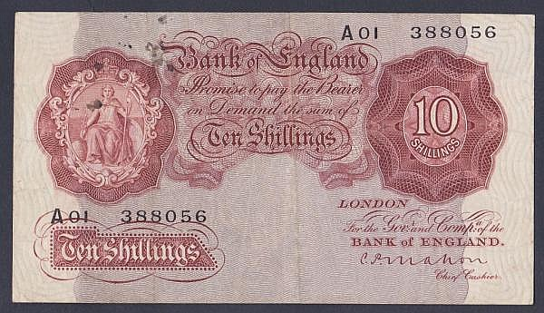 Ten shillings Mahon B210 issued 1928 inaugural run A01 388056, Pick362a, light ink spots, pressed Fine+, scarce