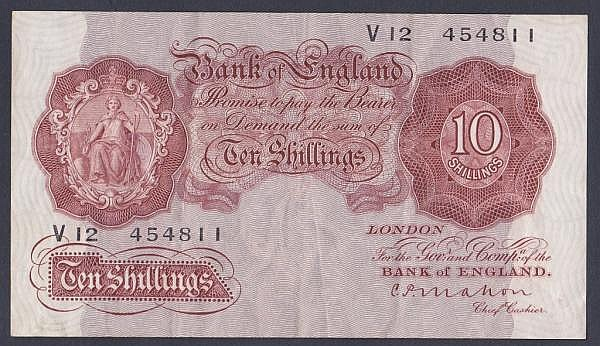 Ten shillings Mahon B210 issued 1928 last series V12 454811 (this series run ends at V13), the V12 prefix is one of only a few examples known, Pick362a, good Fine