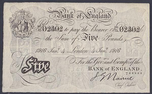 Five pounds Nairne white B208b dated 4th January 1916 series 80/D 02302, Pick304, small stamped bank numbers on reverse, Fine