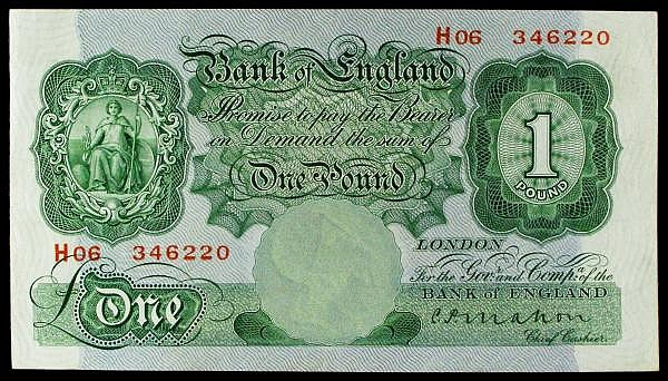 One pound Mahon B212 issued 1928 last series H06 346220, Pick363a, VF to GVF