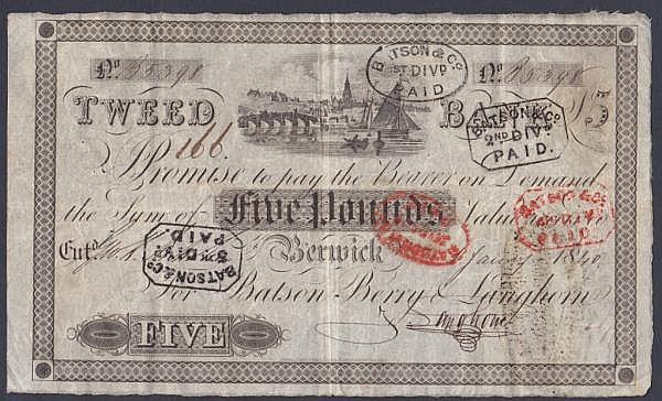 Berwick, Tweed Bank 5 dated 1840series No.B5398 for Batson, Berry & Langhorn, (Outing 127c), usual paid dividend stamps on face, bankruptcy exhibit stamp on reverse, good Fine
