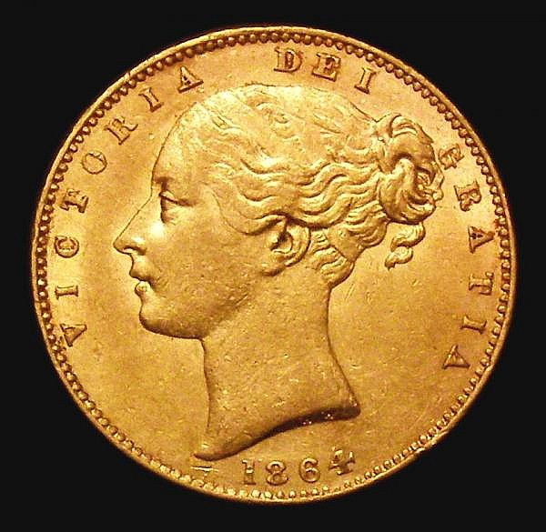 Sovereign 1864 Marsh 49, Die Number 99 GVF/NEF