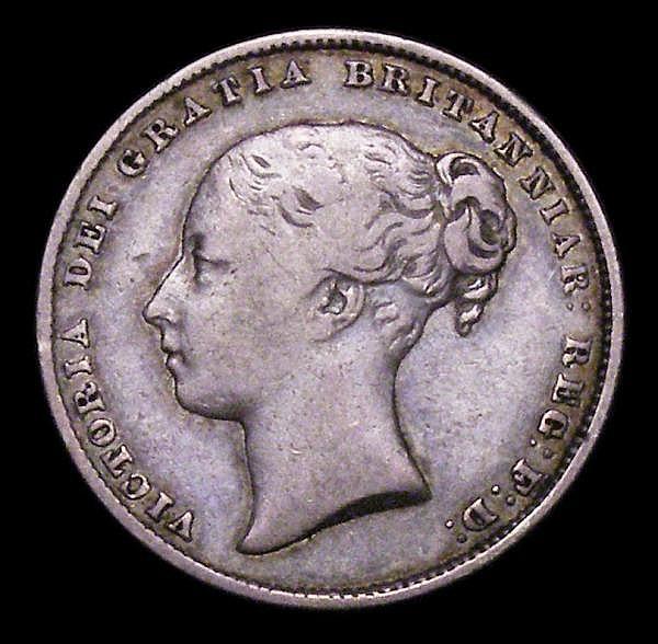 Shilling 1863 3 over 1 ESC 1311A Near Fine, Very Rare