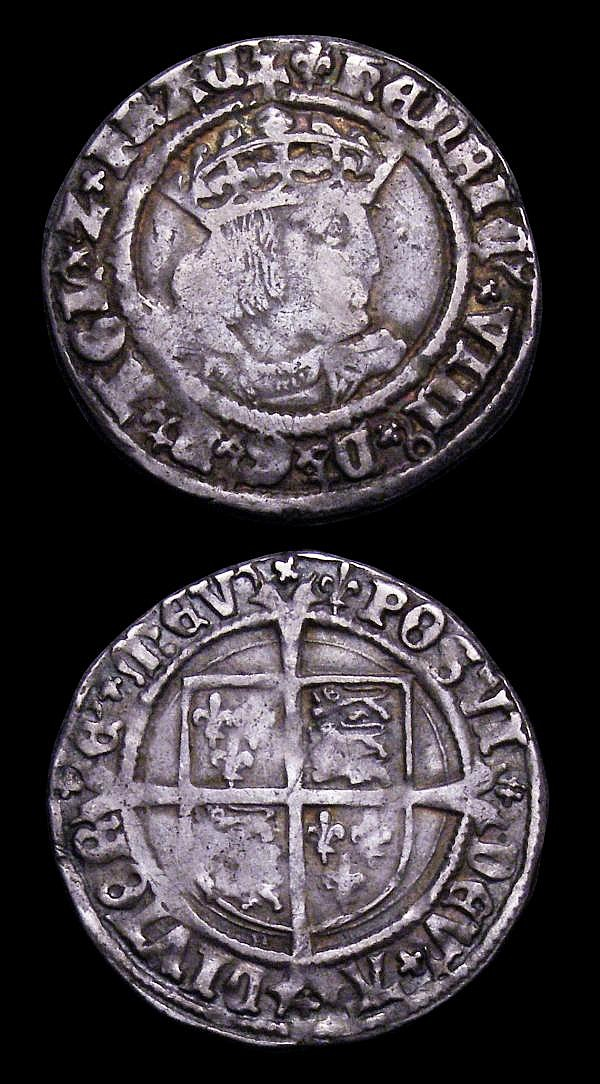 Groat Henry VIII Laker Bust D S.2337E mintmark Lis Fine, Halfgroat Henry VIII Canterbury Mint WA beside Shield S.2343 mintmark 'uncertain mark' About Fine