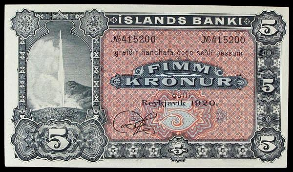 Iceland 5 kronur dated 1920 serial No.415117, 1 signature remainder, Pick15r, geyser in vignette at left, about UNC