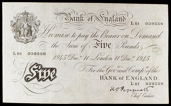 Five pounds Peppiatt white B241 dated 11th December 1944 serial L01 039558, VF