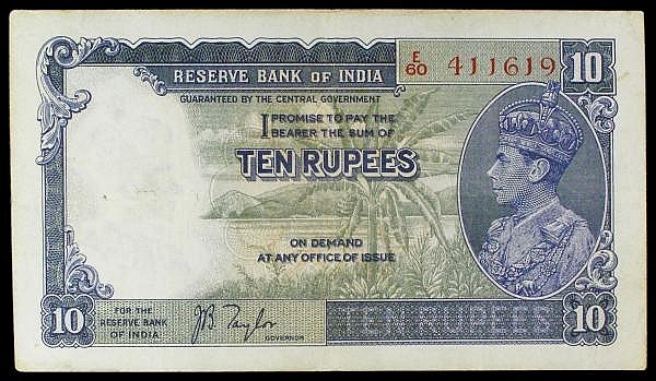 India 10 rupees issued 1937 series E/60 411619, KGV1 portrait at right, signed Taylor, Pick18a, small holes at left, pressed VF