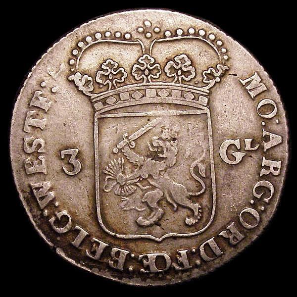 Netherlands - West Friesland 3 Gulden 1763 KM#141.1 Good Fine with a light gold tone