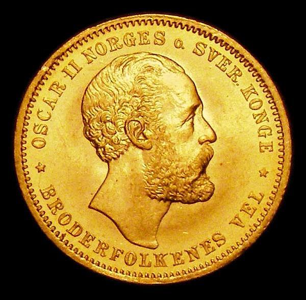 Norway 20 Kroner 1875 Oscar II KM348 Unc