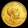 Norway 20 Kroner 1877 Oscar II KM355 Unc with some light contact marks obverse