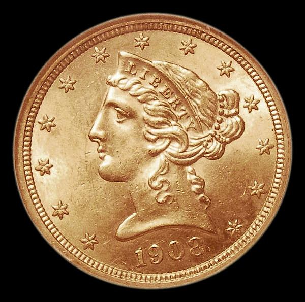 USA Five Dollars 1908 Breen 6801 NGC MS63