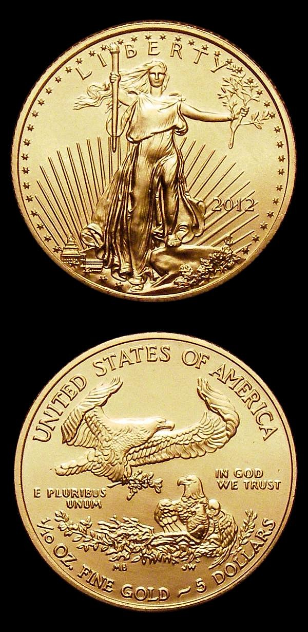 USA Five Dollars 2012 One Tenth Ounce Gold (2) both Lustrous UNC