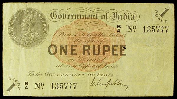 India 1 rupee dated 1917 series B/4 135777 with Gubbay signature, Pick1g, this series with the B prefix was the earlier type issued for Bombay, small holes & edge tear top left, Fine
