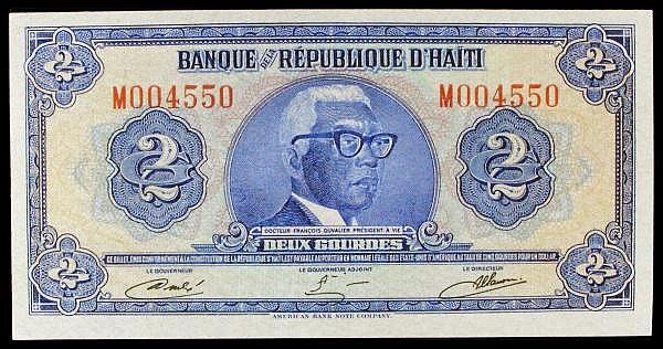 Haiti 2 gourdes issued 1979 series M004550, made from Tyvek plastic, Pick231A, about UNC