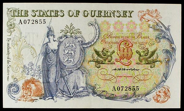 Guernsey 10 issued 1975-80 series A072855, Britannia with shield centre left, Pick47a, about VF