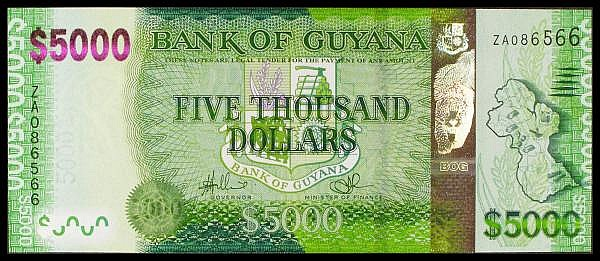 Guyana $5000 replacement issued 2013 series ZA086566, Pick40r, UNC