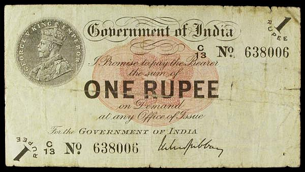 India 1 rupee dated 1917 series C/13 638006, (C prefix for Calcutta), Gubbay signature, Pick1g, edge tear & internal splits with some old adhesive paper on reverse, almost Fine and a scarcer branch issue