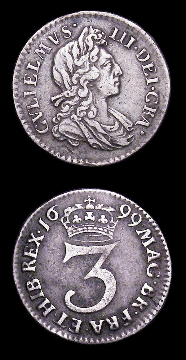 Maundy (2) Threepence 1699 ESC 2001 NVF, Penny 1700 ESC 2313 EF with a slightly uneven edge and some signs of flan stress on the obverse