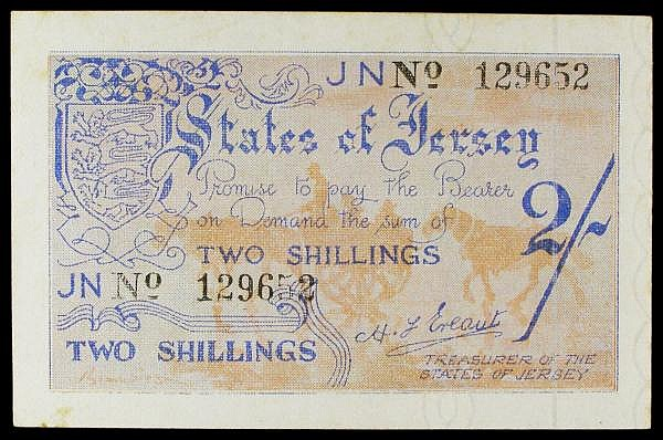 Jersey Two Shillings undated 1941-1942 Pick 3 Fine with some minor foxing