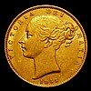 Sovereign 1855 WW Incuse S.3852D VF with a tiny scratch below the shield
