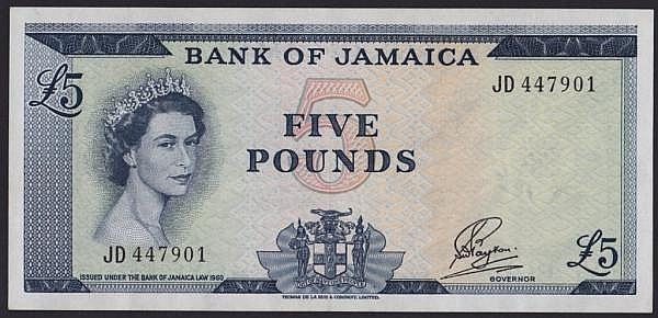 Jamaica 5 issued 1960-64 Gothic serial numbers JD447901, QE2 at left, signed Payton, Pick51Ca, pressed GVF but looks better and scarce