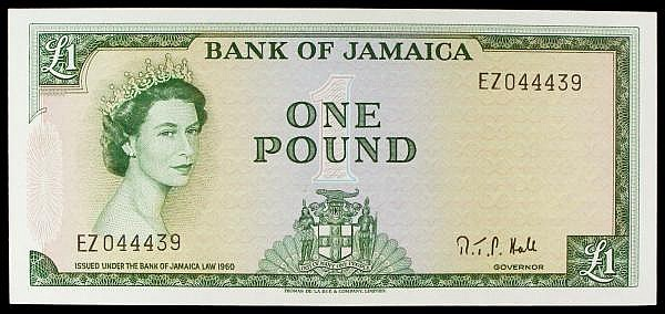 Jamaica 1 issued L.1964 series EZ044439, QE2 at left, signed Governor R.T.P. Hall, Pick51Cd, light centre fold, GEF to about UNC