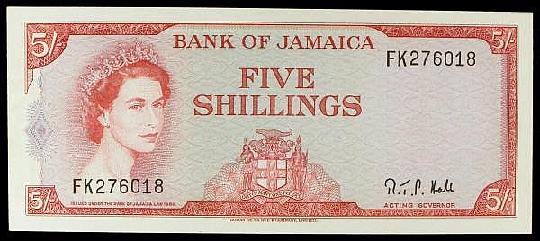 Jamaica 5 shillings issued 1964-66, QE2 portrait at left, series FK276018, Hall signature Acting Governor Pick51Ac, about UNC to UNC