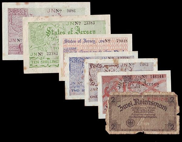 Jersey German occupation WW2 (6) 6 pence No.146144 Pick1a, 1 shilling No.7463 Pick2a, 2 shillings No.123986 Pick3a GVF, 2 shillings No.79048 Pick 4a, 10 shillings series No.23383 Pick5a and 1 No.9086, all with some foxing marks, VF or better also a