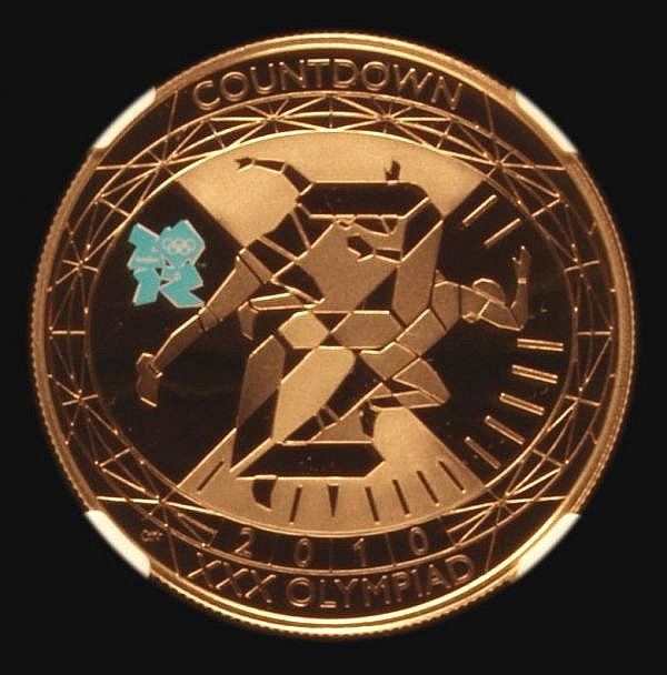 Five Pound Crown 2010 Olympic Countdown to London Gold Proof with blue coloured logo on the reverse S.4921 NGC PF70 Ultra Cameo