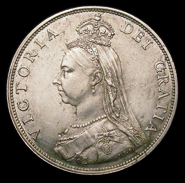 Florin 1887 Davies 811B dies 4A, unlisted by ESC, a recent discovery, the obverse with a slightly smaller bust, and with I.E.B on the truncation, a small vertical indentation or groove runs up from the truncation just to the left of the imperial