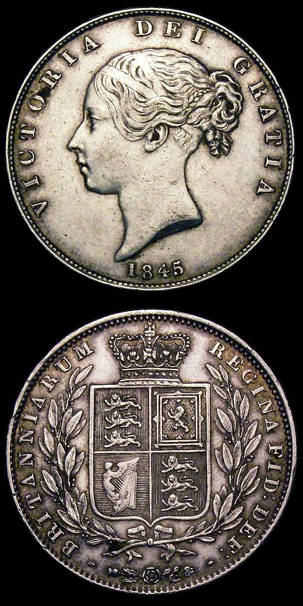 Halfcrowns (2) 1845 ESC 679 VF/NVF with a couple of small spots, 1848 8 over 6 ESC 681A VG