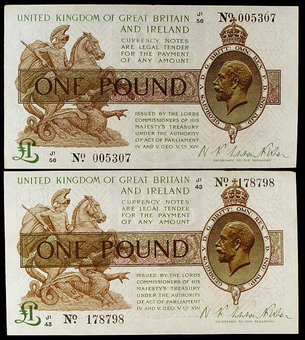One Pound Warren Fisher T31 (2) J1/56 005307 VF, J1/43 178798 VF with centre folds