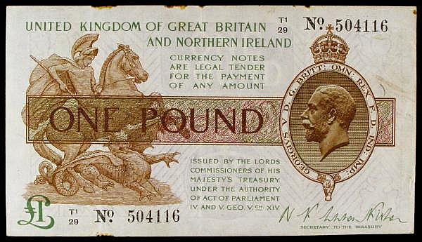 One pound Warren Fisher T34 issued 1927 series T1/34 504116, Northern Ireland issue, Pick361a, rust & edge nicks, GVF