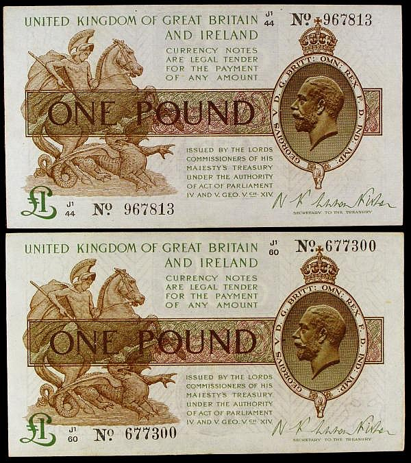 One Pound Warren Fisher T31 a trio J1 44 967813, J1 60 677430 and J1 99 753805 all around VF