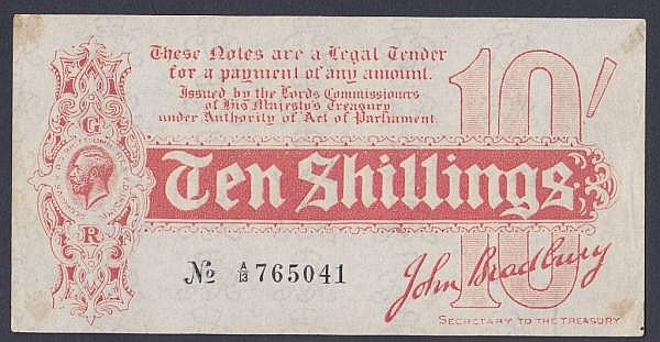 Ten shillings Bradbury T9 issued 1914 serial A/13 765041, mount marks on reverse corners, a few edge creases & lightly faded from being framed otherwise GEF to about UNC