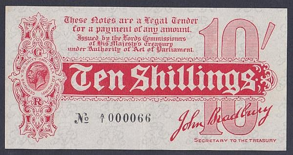Ten shillings Bradbury T9 issued 1914 first series  A/1 000066, Pick346, tiny pinholes top left & pressed GVF, a very scarce low number