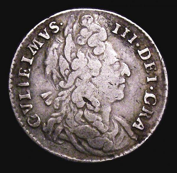 Sixpence 1697 Second Bust, G of GRA over I and second V in GVLIELMVS an inverted A, ESC 1565B Fine/Good Fine, Extremely rare, rated R4 by ESC
