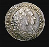 Sixpence 1694 ESC 1531 NEF toned the obverse with a small striking flaw by GVLI, Very rare in this high grade