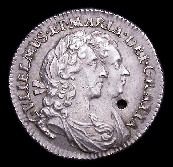 Sixpence 1693 ESC 1529 NEF holed