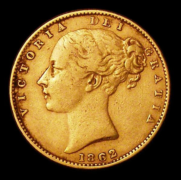 Sovereign 1862 Wide Date S.3852D Fine