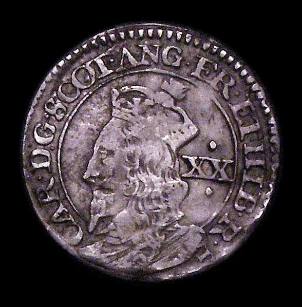 Scotland Twenty Pence Charles I Third Coinage S.5581 B below bust and at end of Reverse legend Good Fine with a small area of corrosion on the reverse, comes with Patrick Finn's ticket
