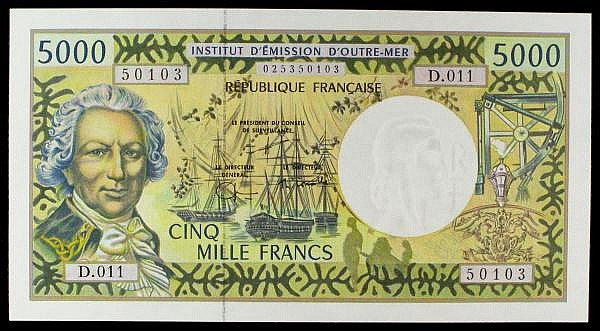 French Pacific Territories 5000 francs issued 1996 series D.011 50103, Pick3g signature 9, tiny edge flicks only, about UNC to UNC