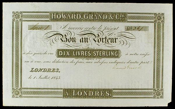 France, a sight note for Dix Livres Sterling (10 sterling) , Howard, Grand & Co., dated London 1st July 1843, Serie 1 No.361, a long list of French towns and companies on reverse, a small piece of bottom right corner missing, about EF and scarce