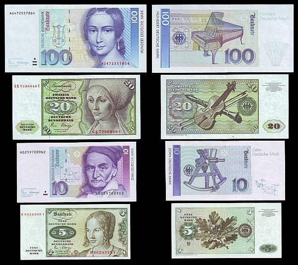 Germany (4) 100 Marks 1996 issue Pick 46 UNC, 20 Marks 1970-1980 issue Pick 32c EF, 10 Marks 1989-1991 issue Pick 38a UNC, 5 Marks 1970-1980 issue Pick 30b EF, along with 5 Euros 2002 X 06598821098 mis-cut Error note with part of the left of the note