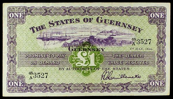 Guernsey 1 dated 1st July 1966 series 48/A 3527, Guillemete signature, Pick43c, good Fine to VF