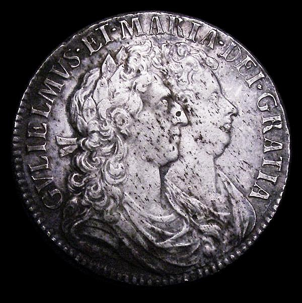Halfcrown 1689 Second Shield, Caul and Interior Frosted, No Pearls ESC 509 VF with some light haymarking