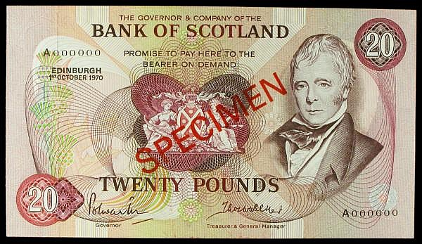 Scotland Bank of Scotland 20 SPECIMEN dated 1st October 1970 series A000000 signed Polwarth & Walker, Pick114as, faint ink smudges, about UNC to UNC