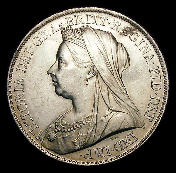 Crown 1900 LXIV ESC 319 EF the obverse with some contact marks