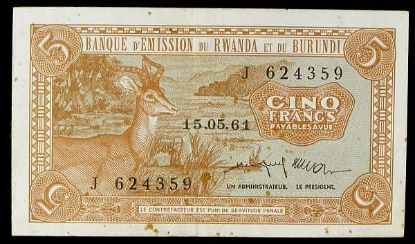 Rwanda Burundi 5 francs dated 15-05-61 series J624359, Pick1a, foxing spots, VF to GVF
