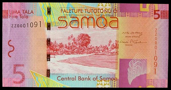 Samoa 5 tala issued 2008, low number replacement series ZZ0001091, Pick38r, UNC